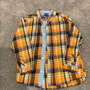 Plaid button down long boys sleeve shirt